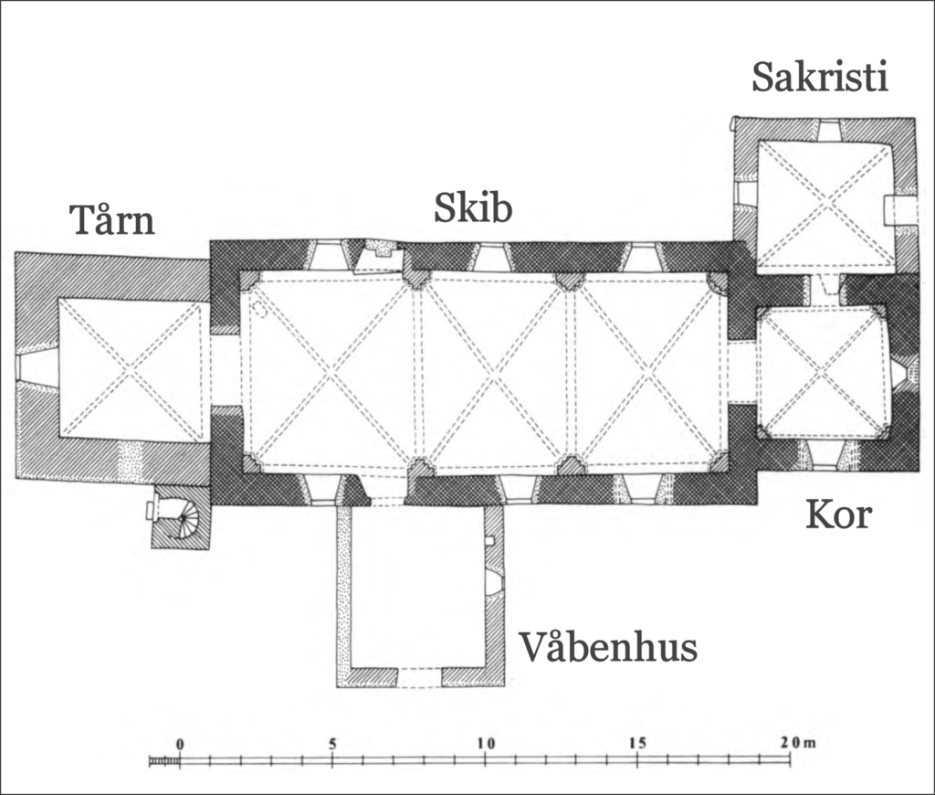 Orø Kirkes grundplan